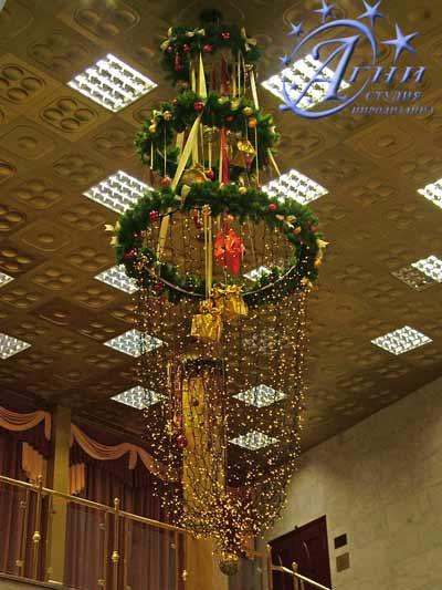 Украшение новогоднего зала шарами 70